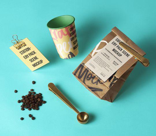 Coffee Psd Stationery Scene Mockup