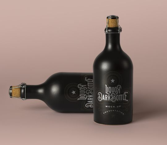Dark Psd Liquor Bottle Mockup Vol2