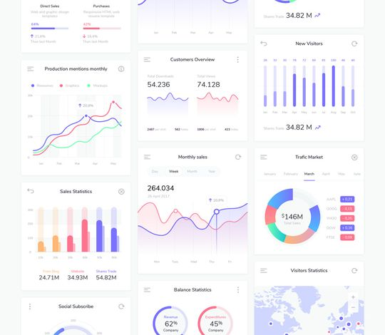 Dashboard Infographic Charts Vector