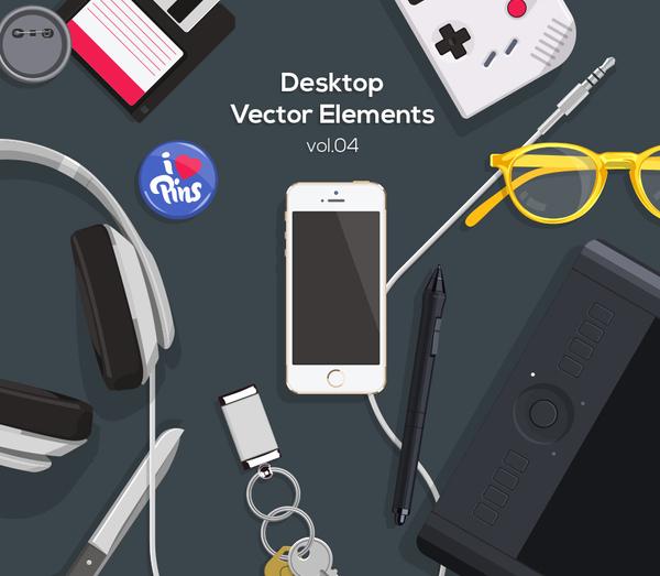 Desktop Flat Vector Objects Vol4