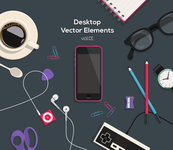 Desktop Flat Vector Objects Vol5
