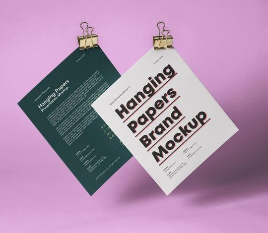Hanging Psd Paper Brand Mockup