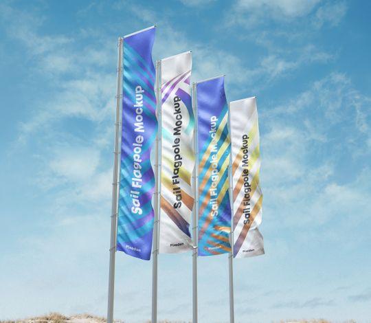Psd Flagpole Advertising Mockup