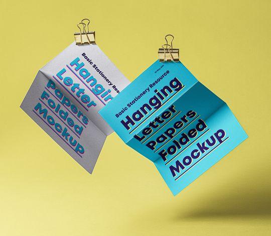 Psd Hanging Folded Paper Mockup