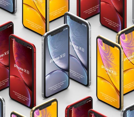 Psd iPhone XR Mockup Isometric Vol4