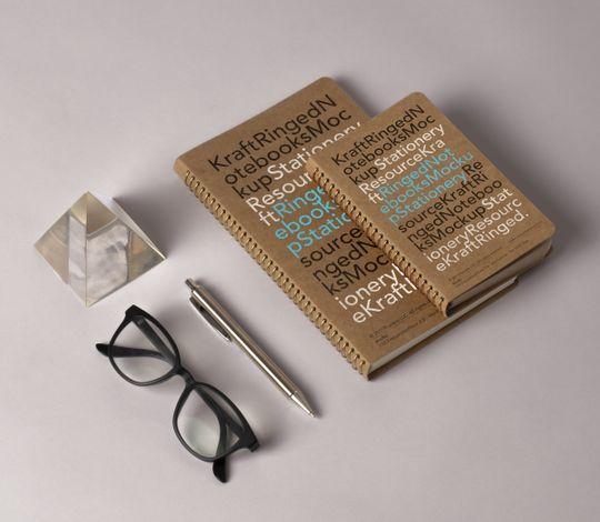 Psd Kraft Ringed Notebooks-Mockup