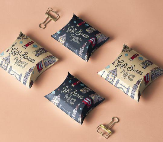Psd Pillow Box Packaging Mockup