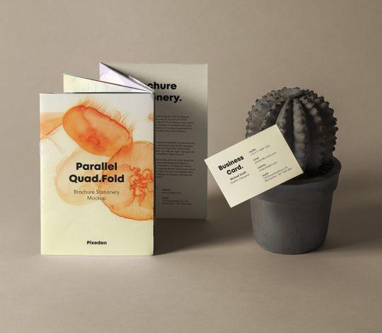 Quad Fold Psd Brochure Mockup