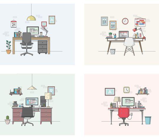Vector Desktop Scene Elements